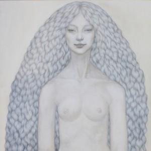 A girl   66.0×66.0cm  パネル・和紙・鉛筆・油彩