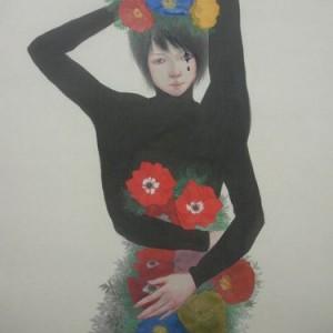 Mini_Nina Kawamata_145x63cm_colour on silk