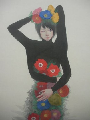 Mini_Nina Kawamata_145x63cm_colour on silk