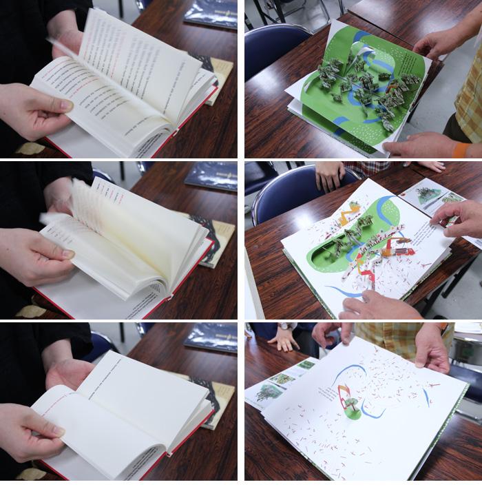 <左>どんどんテキストが少なくなる本  <右>絵本。ナマケモノを探すのだが、木が伐採されて森がなくなっていき・・・