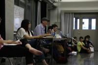 机に座っている中央がマキノ先生。右が音響家の堂岡先生