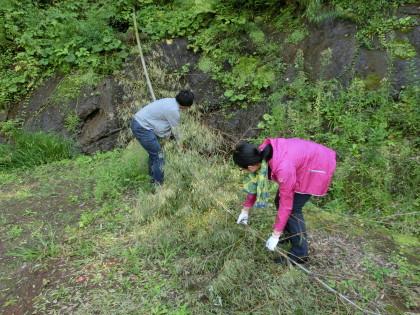 坪井先生も力仕事!仲先生は崖の上にいます。