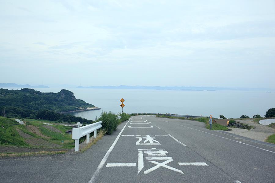 豊島美術館への道のり。棚田と海がきれいです。