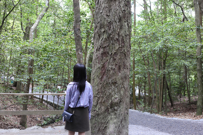 文芸表現学科の学生が多く在籍している「歌会サークル」に、今年の新入生も数名参加しているようで、木々を見つめながら、歌を詠んでいる子もいました。