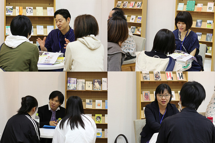 左上:小説家の辻井先生、右上:編集者の村松先生、左下:作家の山田先生、右下:編集者・詩人の中村先生
