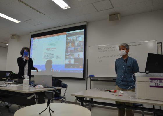 ご講義開始前 髙梨武彦先生(右)をお迎えする稲田先生(左)